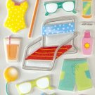 Summer Beach Small Puffy Sticker #H04d