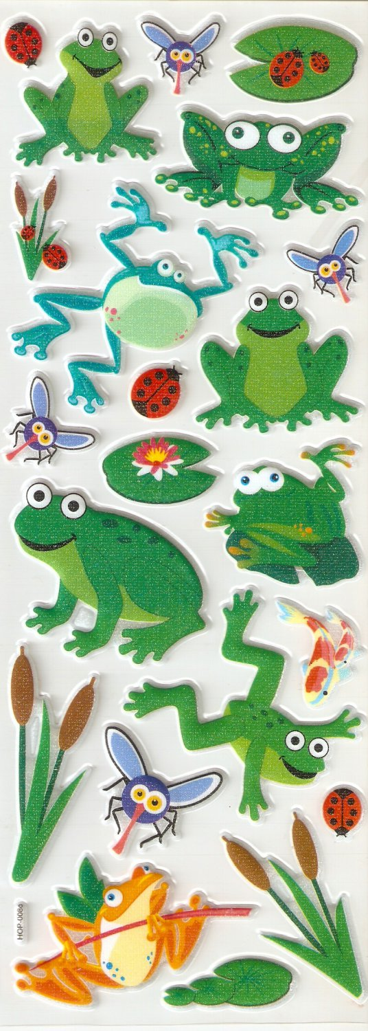 Small Puffy Sticker Frog #H08d