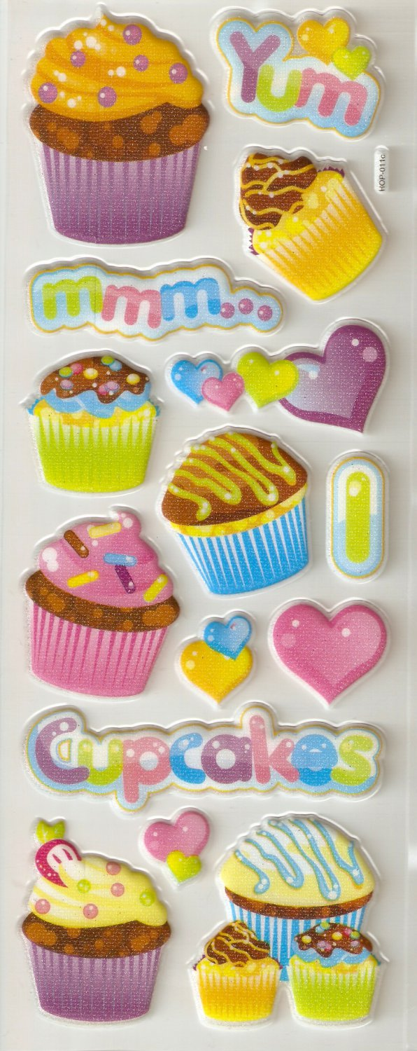 Small Puffy Sticker Cupcake #H11c