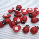 100pcs 12mm*15mm Hand painted Wooden Ladybug Ladybird Stick on No Shipping Fee