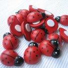 *No Shipping Fee Worldwide Bulk 1000pcs 12mm x 15mm Hand Painted Wooden Ladybug ladybird Stick On