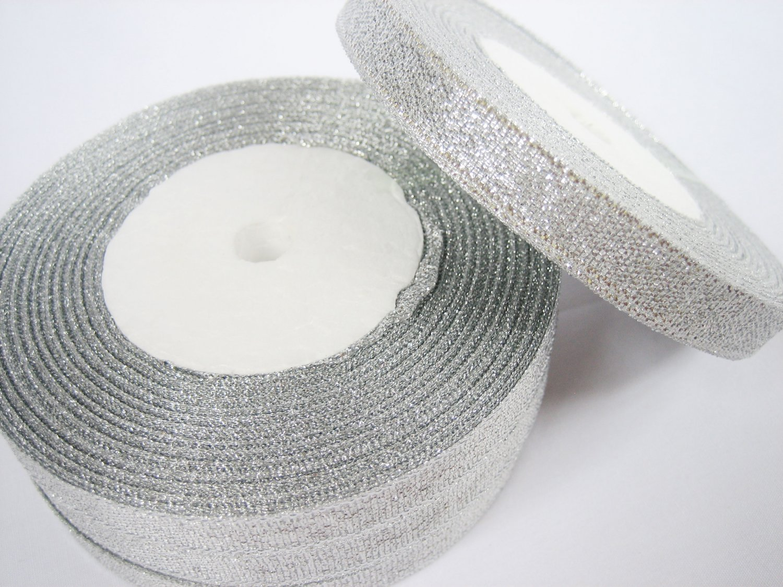 10 rolls of 10mm Metallic Silver Lame Ribbon