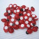 *No Shipping Fee Worldwide Bulk 1000pcs 9mm x 13mm Hand Painted Wooden Ladybug ladybird Stick On