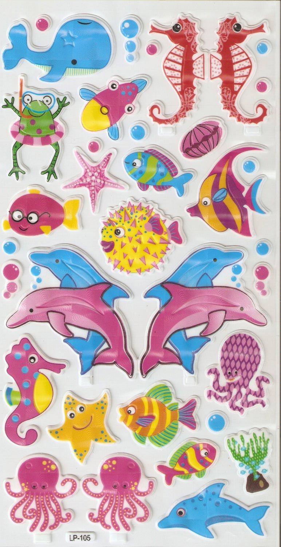 LP105 1 sheet Sea Animal Hologram effect Puffy Sticker