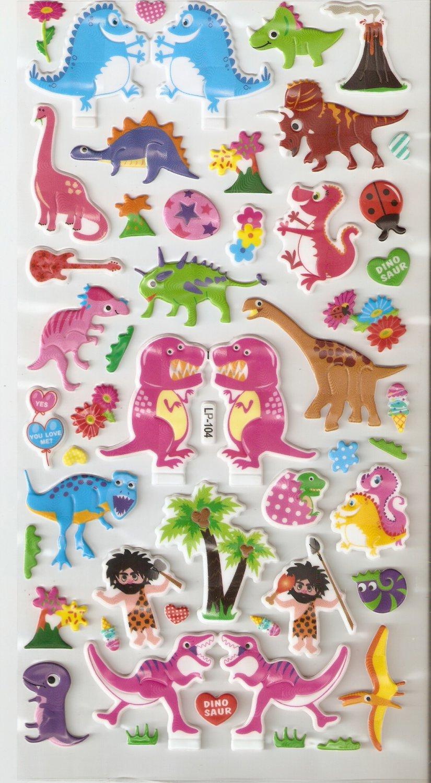 LP104 1 sheet Dinosaur Hologram effect Puffy Sticker
