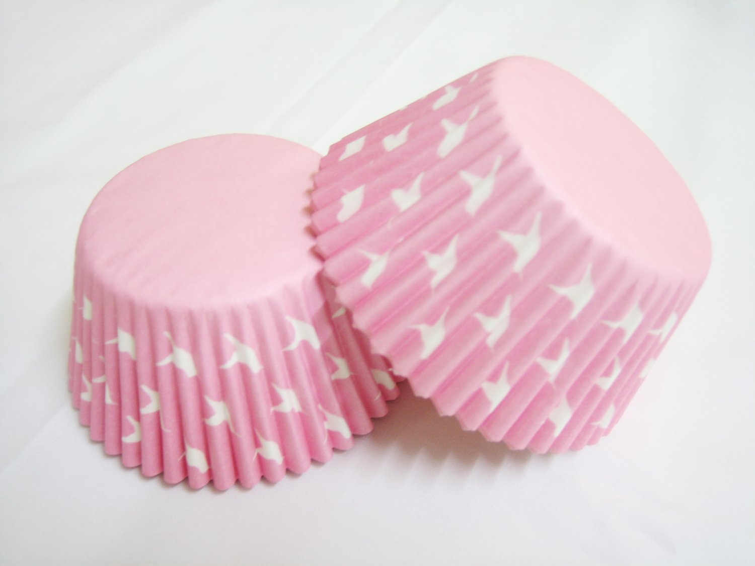 100pcs Pink Cake Cup Printed with White Dove US Standard Size