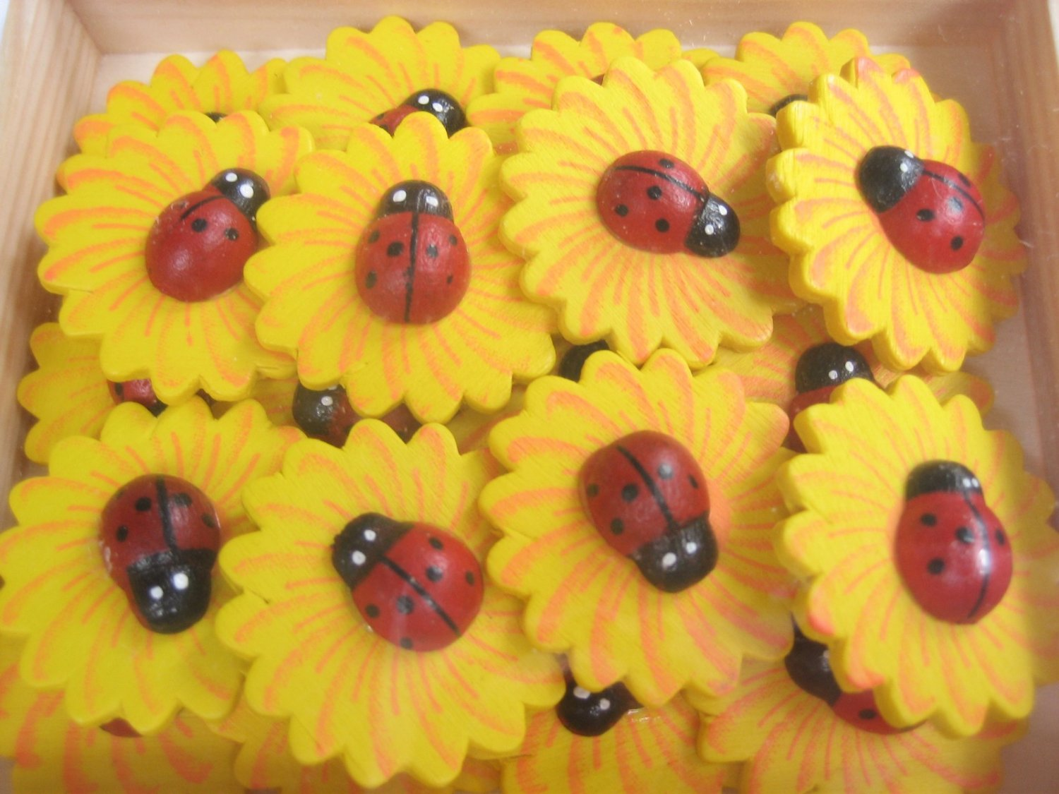 40pcs Ladybug on Sunflower Wooden Sticker for Cardmaking, Scrapbooking, Craft etc.