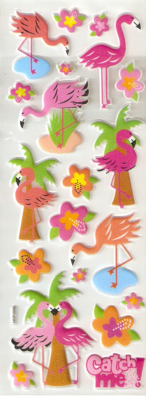 Pinky Flamingo Big Puffy Sticker #H06c