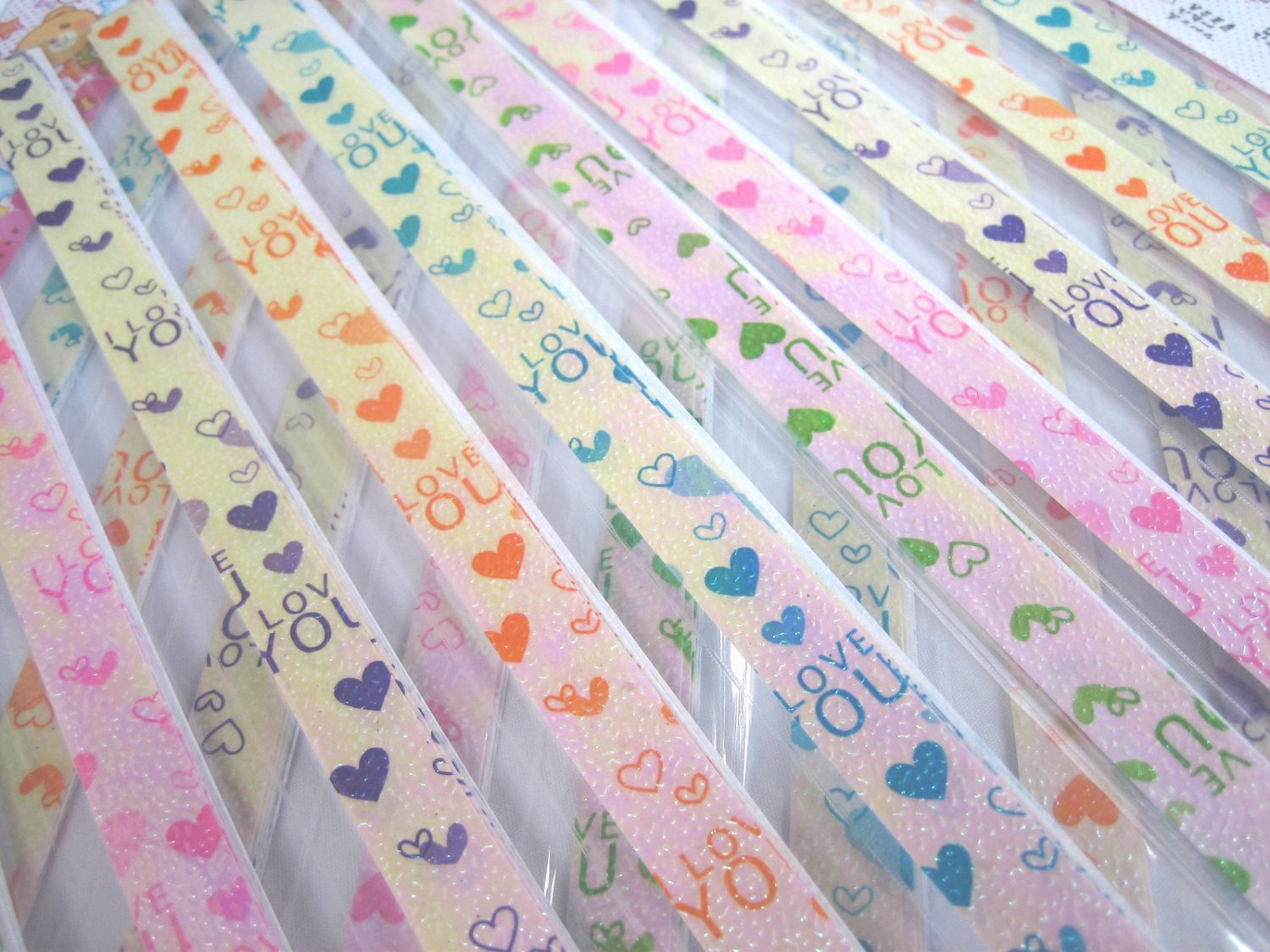 80 strips I LOVE YOU WITH FULL HEART Mix Colour Origami Folding Lucky Star Paper Strips 80A