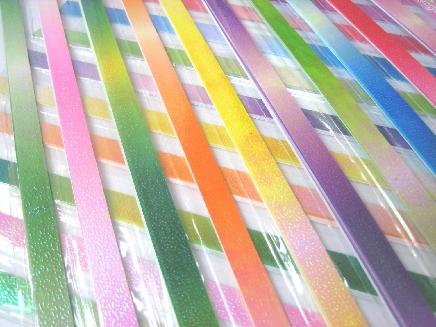 50pcs GLITTER METAL Mix Colour Origami Folding Lucky Star Paper Stripe 50A