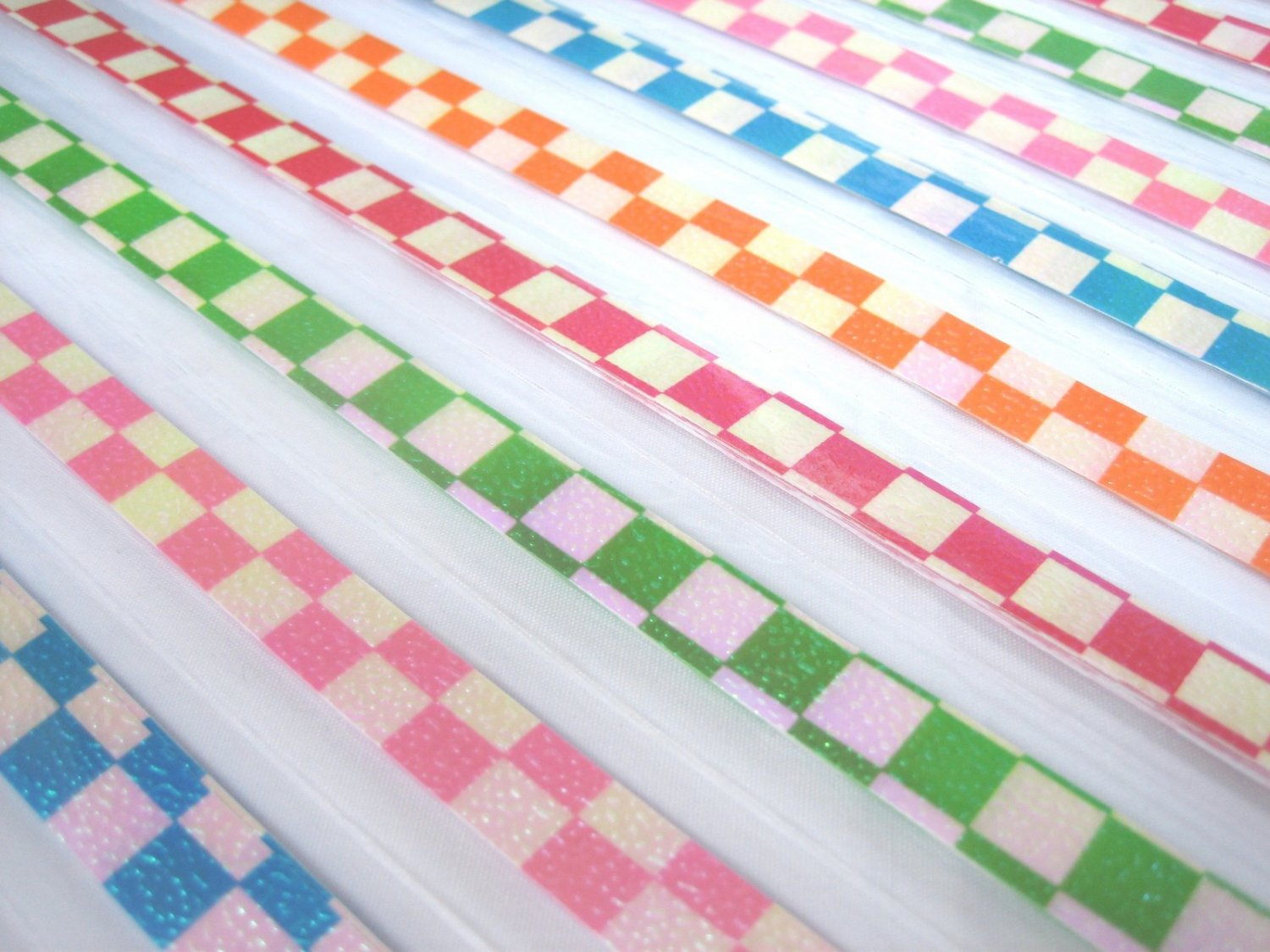 80pcs Country Check Mix Colour Origami Folding Lucky Star Paper Strips 80A