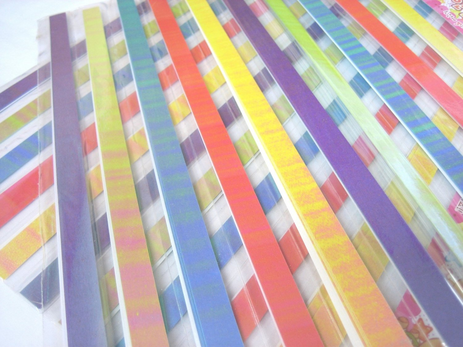 80pcs WARM GALAXY PEARL Mix Colour Origami Folding Lucky Star Paper Stripe 80A