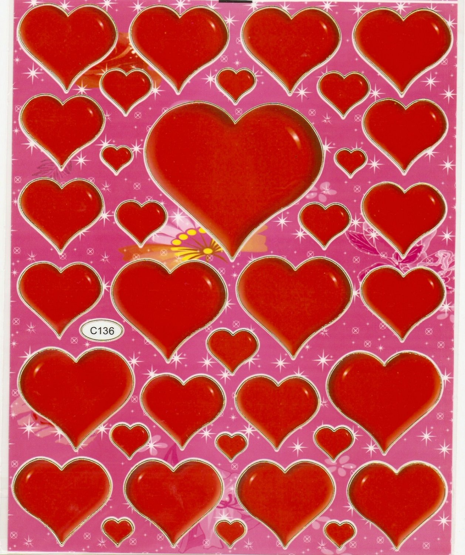 10 sheets Love or Heart Shape Sticker #C136