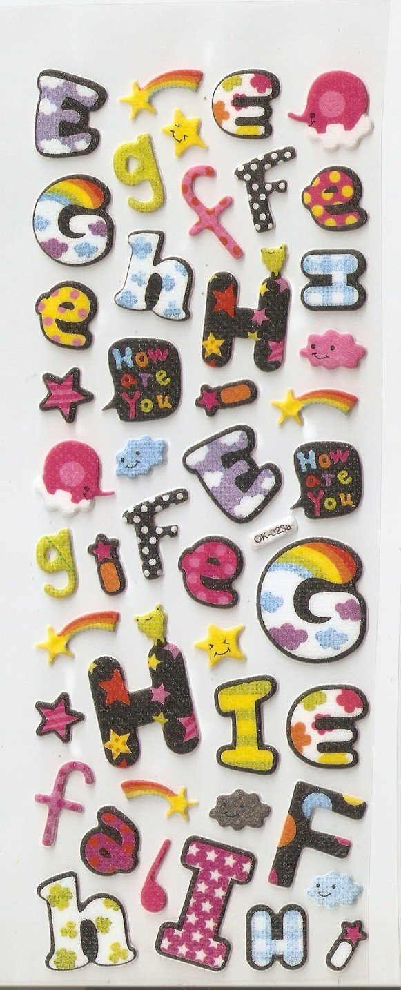 Letters or Alphabets Puffy or Epoxy Stickers