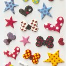 316A Cute Kawaii Assorted Star and Bow Small Puffy Sticker FREE SHIPPING