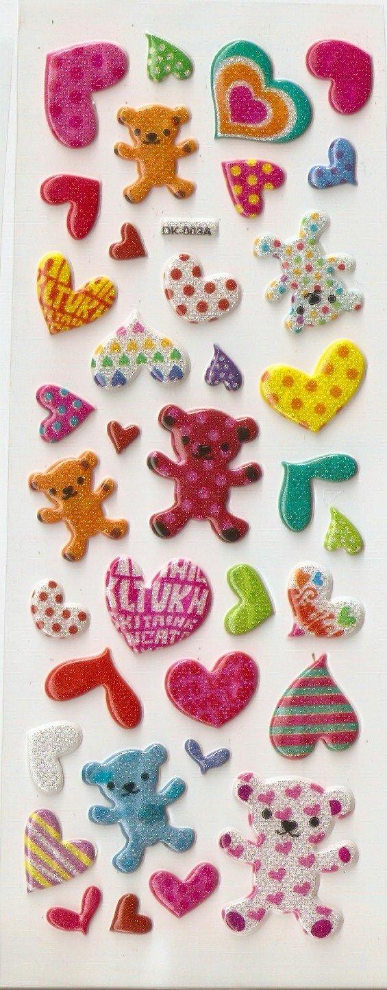 OK003A Teddy and Love/Heart Mini Puffy Sticker FREE SHIPPING