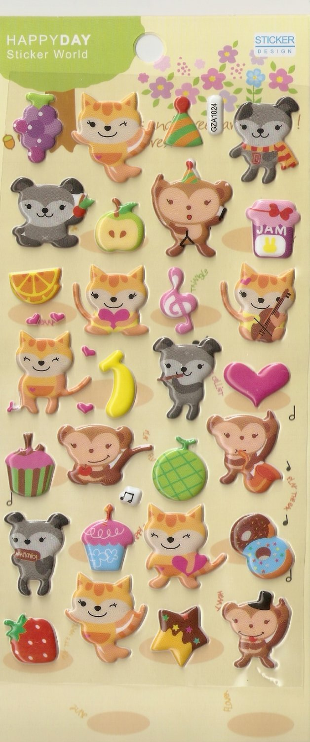 GZA1024 Story of Forest Mini Puffy Sticker FREE SHIPPING