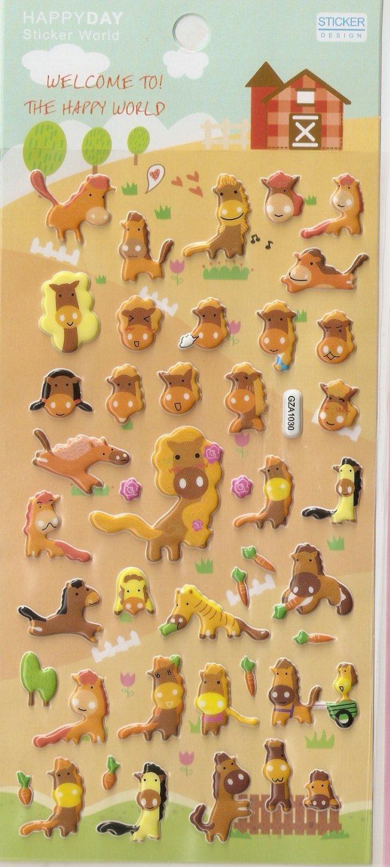 GZA1030 Story of Horse Mini Puffy Sticker FREE SHIPPING