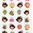 DON1013 Bees Flower & Girls Mini Epoxy Sticker FREE SHIPPING