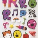 OK023b Letter Alphabet Mini Puffy Sticker FREE SHIPPING