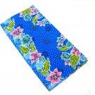 0012 Blue Batik Sarong Daun Dewa Batik Sarong Floral Beach Cover-up Wrap Pareo