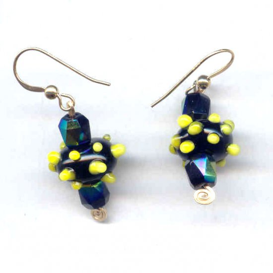 Yellow Bumps on Black Lampwork and Gold Filled Earrings