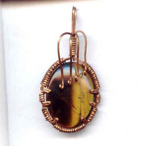 Copper and Tiger Eye Wire Wrap Pendant