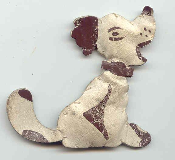 Vintage Handcrafted Leather Dog Brooch