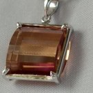 amber-like zirconia silver necklace