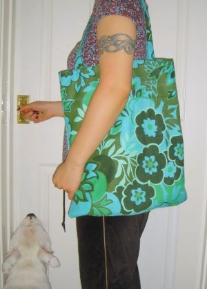 VINTAGE 70S RETRO OVERSIZE SHOPPER BAG TOTE PURSE