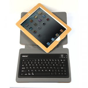 Rock leather Bluetooth Keyboard Housing Case Can Rotated 360 Degrees With Steady For Apple iPad 2