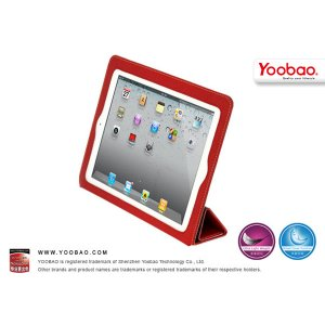 Red Fold Smart Cover Genuine Leather Case for iPad 2