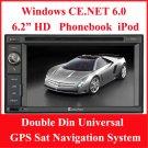 Custron T1062UD1 Double Din Universal GPS Sat Navi System + DVD Playback BT Phonebook