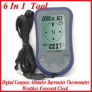 6 In 1 Digital Compass Altimeter Barometer Thermometer Weather Forecast Clock