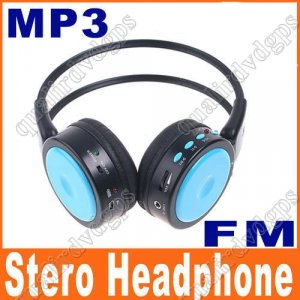 Digital Wireless Headphone FM SD/TF Stero Music  blue