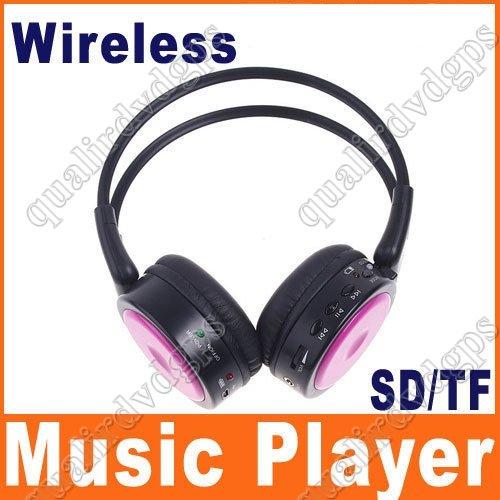 Digital Wireless Headphone FM SD/TF Stero Music  pink