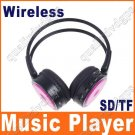 Digital Wireless Headphone FM SD/TF Stero Music  pink