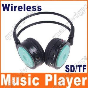 Digital Wireless Headphone FM SD/TF Stero Music  green