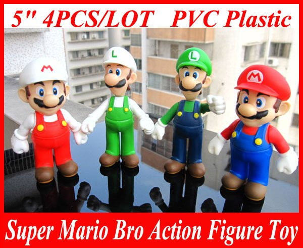 "4pcs /set 5"" Super Mario Bro Mario & Luigi Action Figure Toy"
