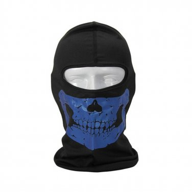 BO-SPBK21-BL Tactical Quick-drying Full Face Breathable Mask Motorcycle Skull Mask Hat