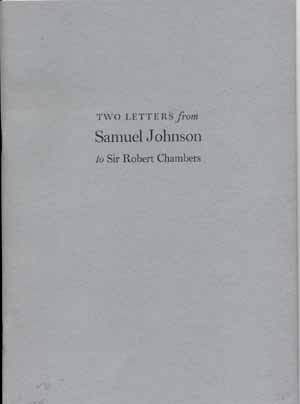 Two Letters from Samuel Johnson to Sir Robert Chambers