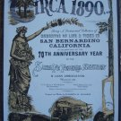 Circa 1890 Mementos of Life & Times in San Bernardino, California