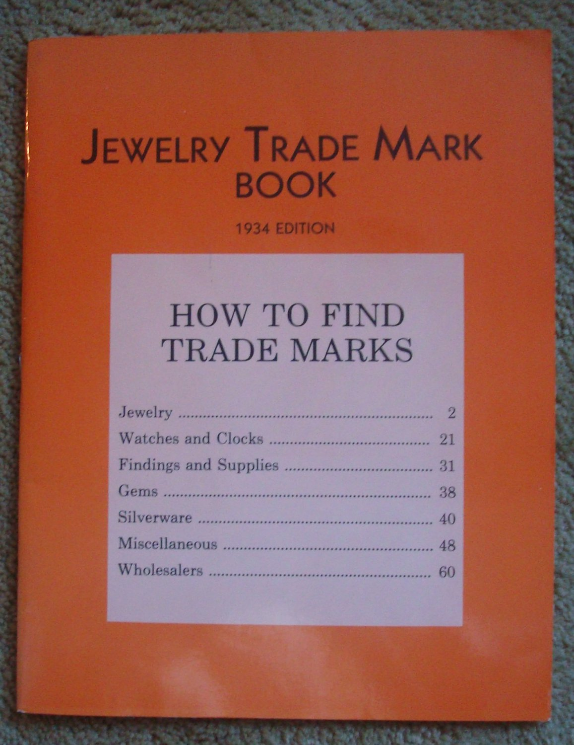 The Keystone Jewelry Trade Mark Book 1934 Edition