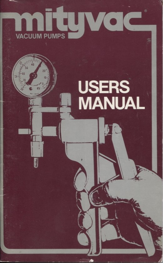 Mityvac Vacuum Pumps Users Manual