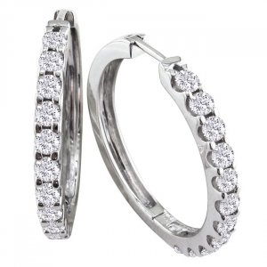 14k White Gold 1ct Diamond Hoop Earrings