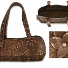 'Chocolate Floral' Inspired Vintage Leather Bag