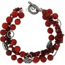 Three strand Sea Bamboo Coral Bracelet - Sterling Silver