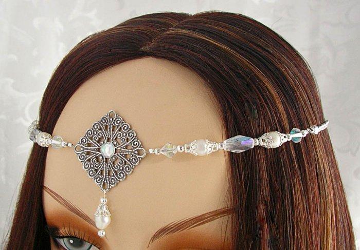 PEARL medieval Elven LARP CIRCLET crown wedding tiara