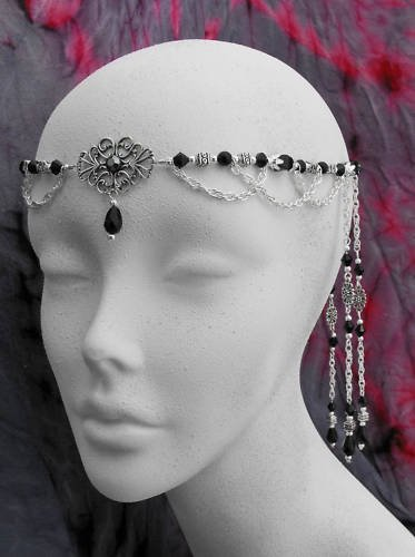 Black Onyx Victorian CIRCLET Wedding Tiara crown diadem
