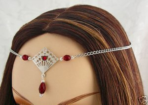DEEP Red RENAISSANCE Medieval ELVEN tiara CIRCLET crown
